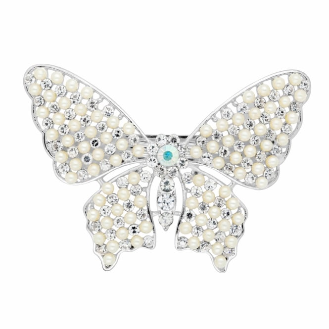 Mini pearl and crystal butterfly hair barrette