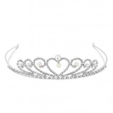 Mini pearl and crystal heart tiara