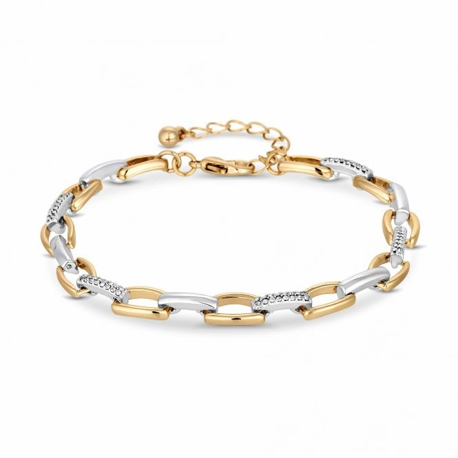 Image of Mixed Metal Plated 2 Tone Link Bracelet