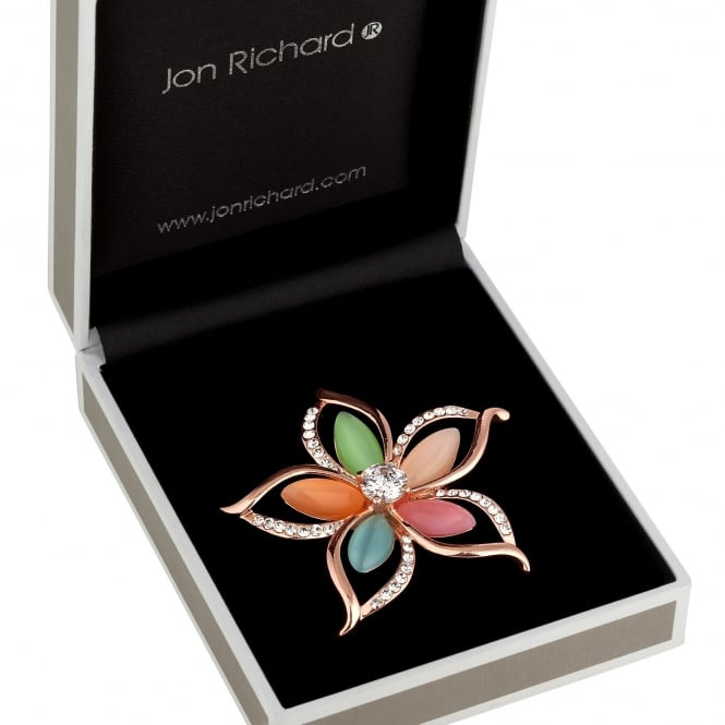 Multi Colour Crystal Flower Brooch In A Gift Box