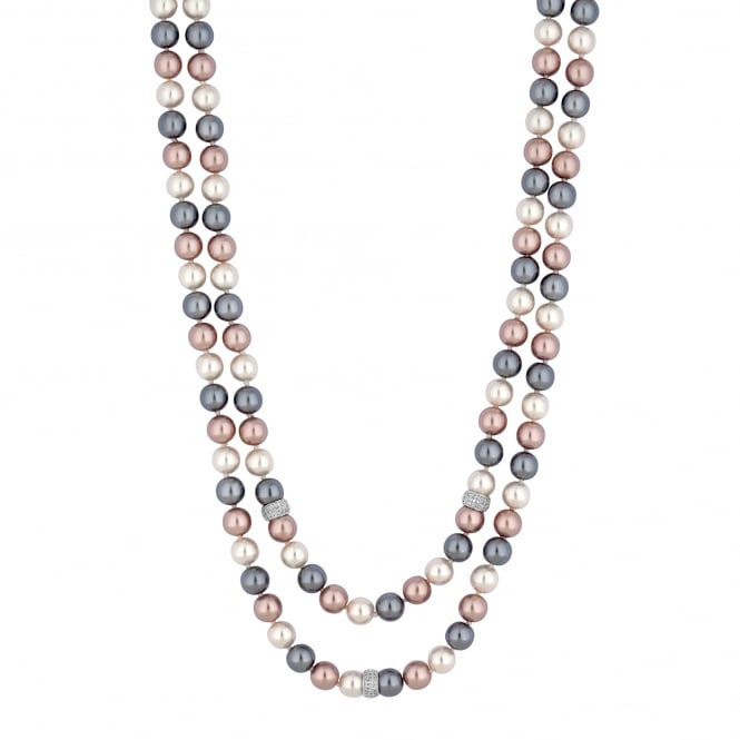 Multi Tonal Pearl Multi Row Necklace