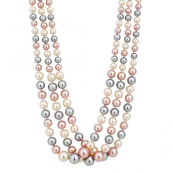 Multi Tonal Pink/ Grey Pearl Multi Row Necklace