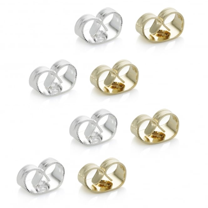 Multi Tone Butterfly Earring Backs - Pack of 4 Pairs