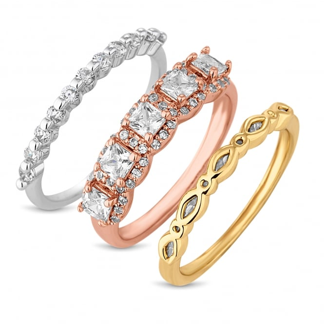 Multi tone crystal stacking ring set