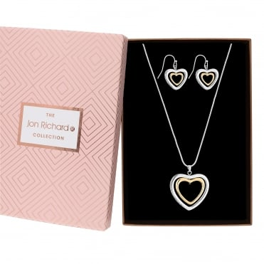 Multi tone heart jewellery set in a gift box