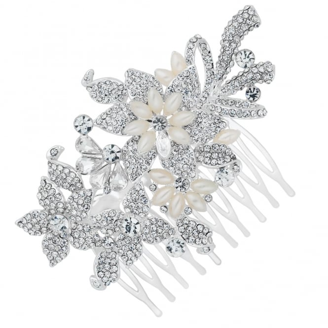 Jon Richard Navette pearl and crystal flower hair comb