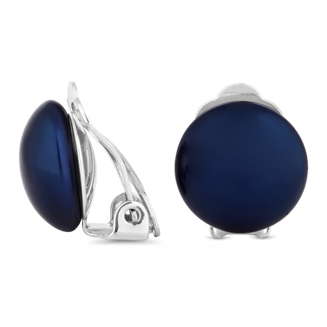 Navy pearl button clip on earring