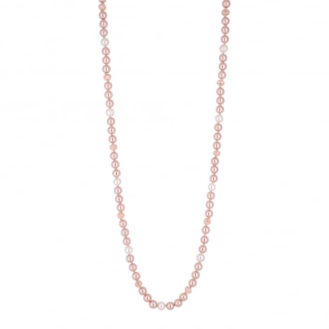 Nude Pink Pearl Long Necklace
