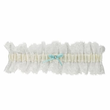 Online exclusive blue satin bow and crystal lace garter