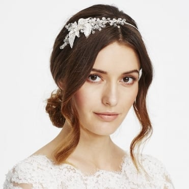 Online exclusive crystal flower and leaf side headband