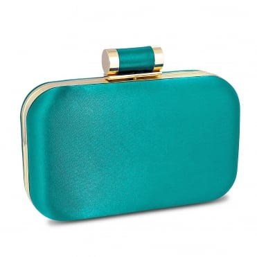 Online exclusive green satin toggle fastening clutch bag