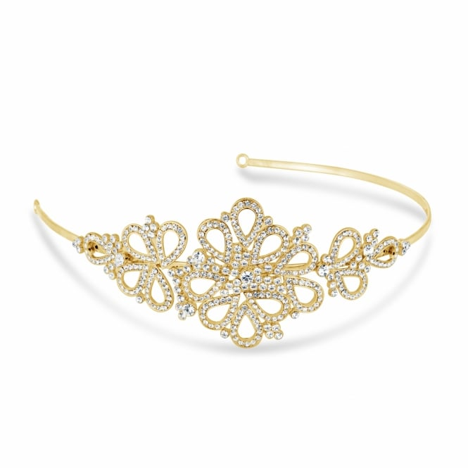 Orchid vintage gold tone headband