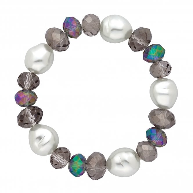 Organic Pearl And Bead Stretch Bracelet