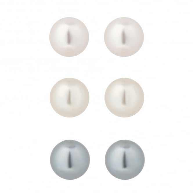 Pastel Pearl Stud Earrings - Pack of 3