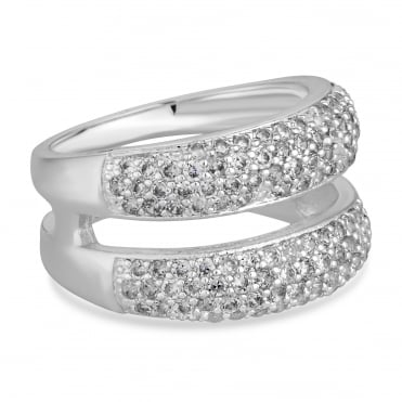 Pave double row ring