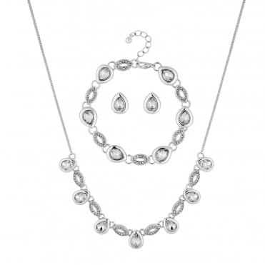 Pave peardrop jewellery set