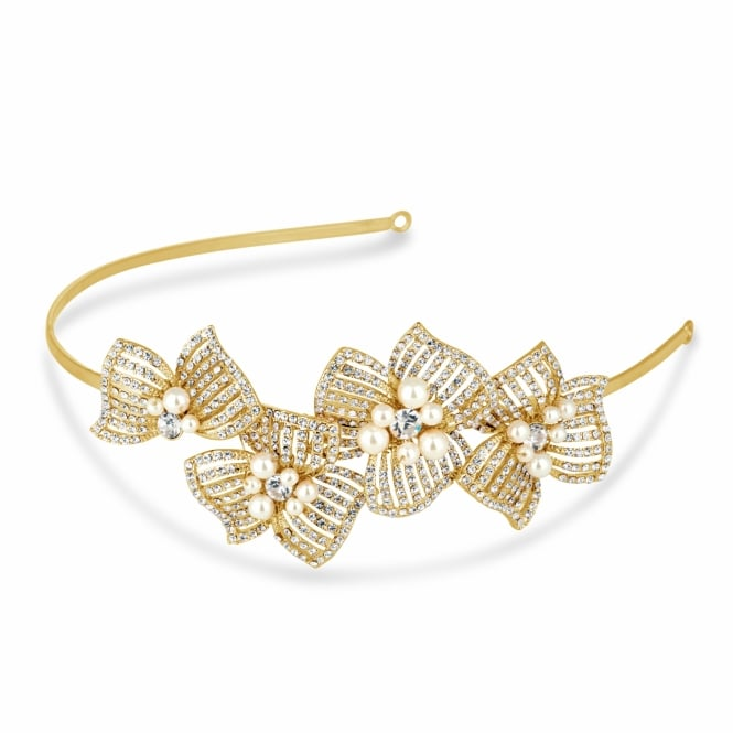 Pearl and crystal 3-d gold flower headband