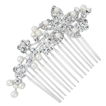 Pearl and crystal cluster flower hair comb