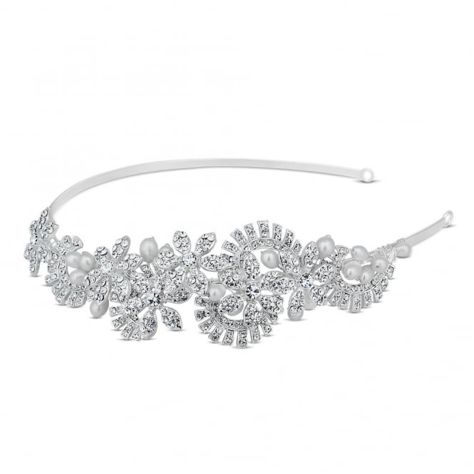 Pearl and crystal floral curved leaf headband