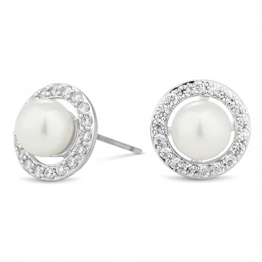 Pearl and crystal surround disc earring