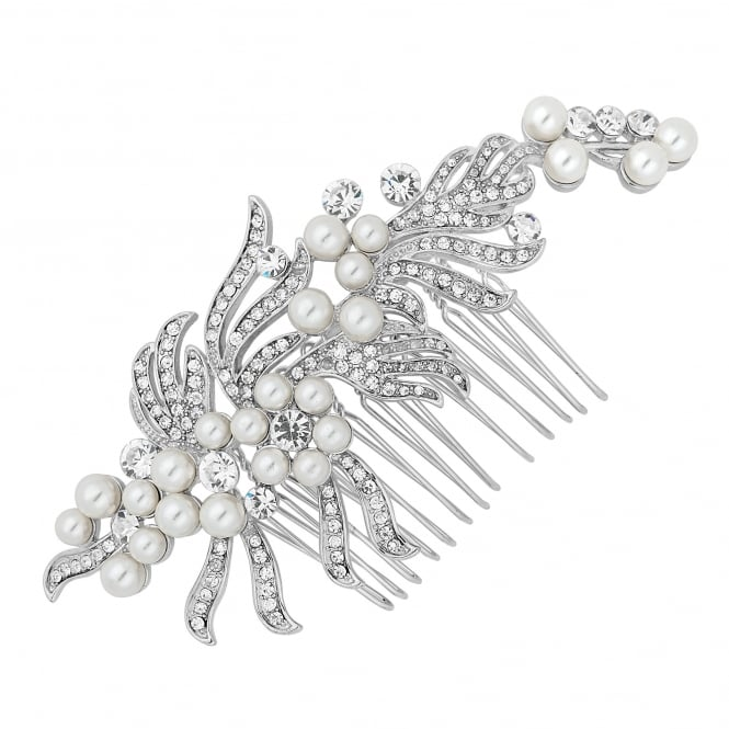 Jon Richard Pearl and crystal swirl vintage effect hair comb