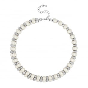 Jon Richard Pearl and crystal wrap choker necklace