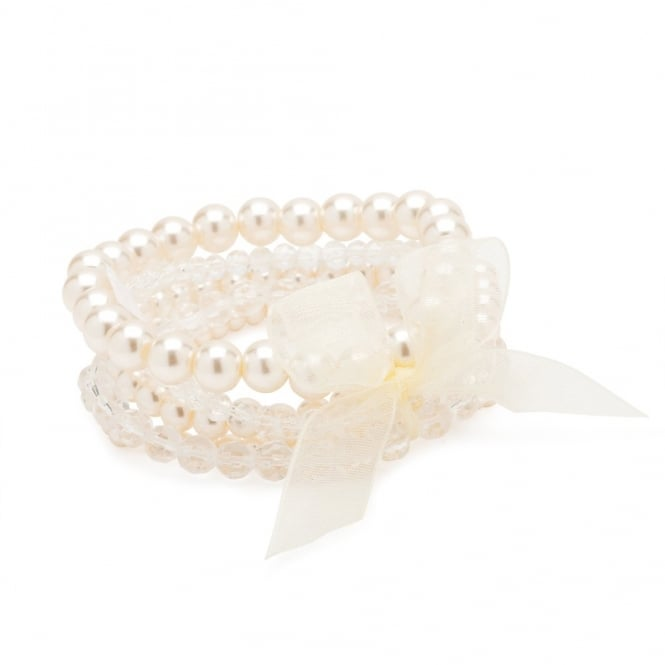 Pearl Bracelet Set With Ribbon