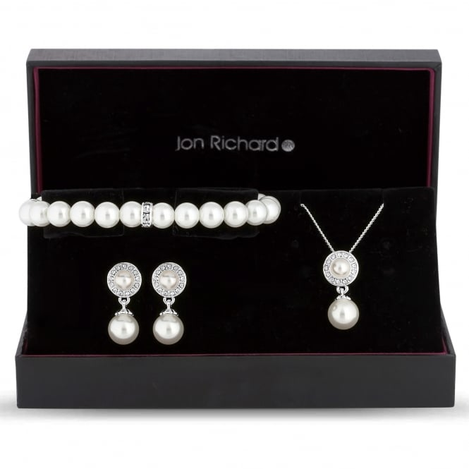 Jon Richard Pearl disc jewellery set