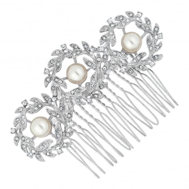 Pearl encased crystal wreath hair comb
