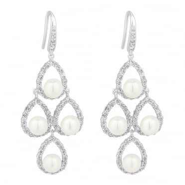 pearl pave chandelier earring
