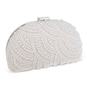 Jon Richard Pearl scallop embellished clutch bag