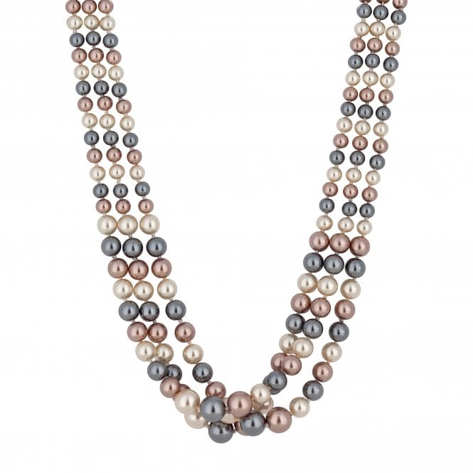 Pink And Grey Multi Tone Pearl Magnetic Necklace