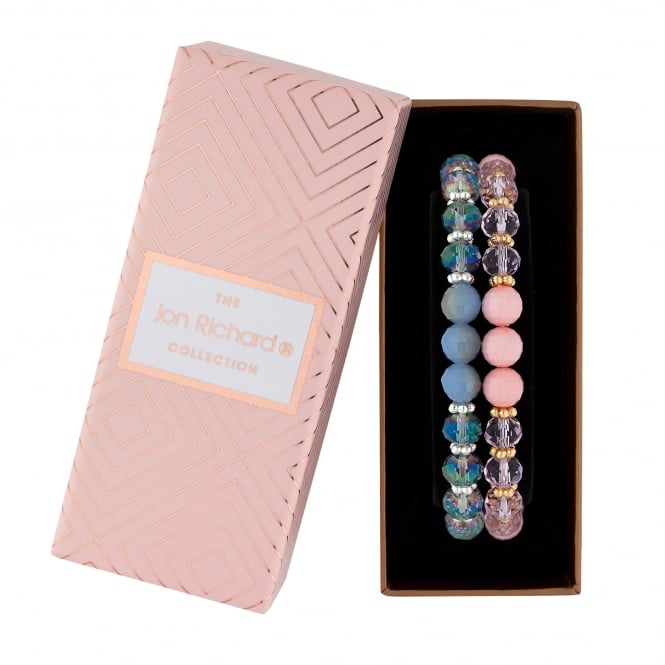 Jon Richard Pink / Blue Beaded Bracelet Set In A Gift Box - Pack of 2