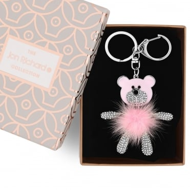 Pink fluffy bear keyring