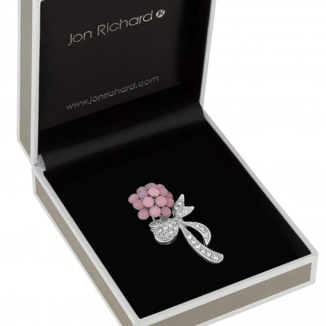 Image of Pink Opal Flower And Pave Ribbon Brooch