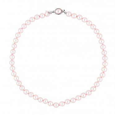 Pink pearl oval clasp necklace