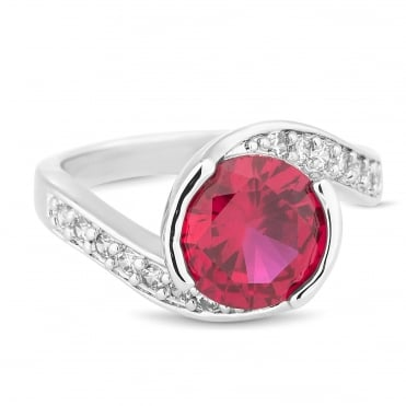 Red cubic zirconia swirl effect ring