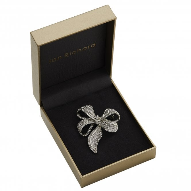 Brooches Rhodium Plated Pave Bow Brooch - Gift Boxed
