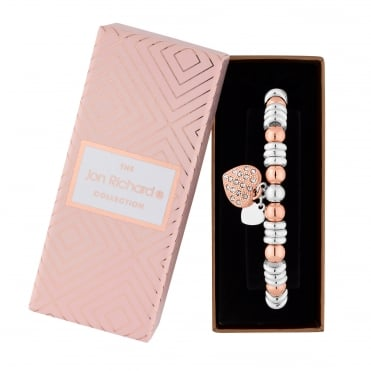 Rose Gold And Silver Plated Heart Charm Stretch Bracelet In A Gift Box