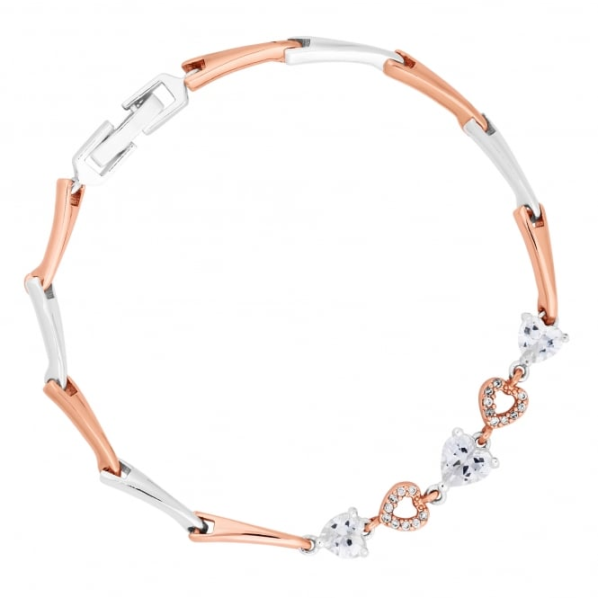 Rose Gold And Silver Plated Pave Heart Multi Tone Bracelet