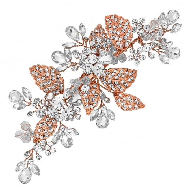 Rose Gold Crystal Cluster And Leaf Hair Clip
