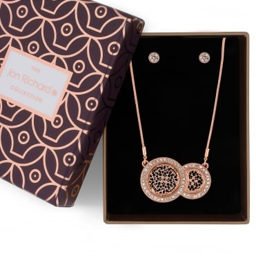 Rose gold crystal filigree disc necklace and earring set