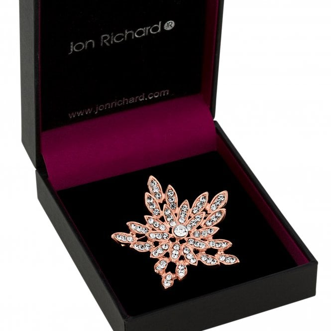 Rose Gold Crystal Floral Burst Brooch