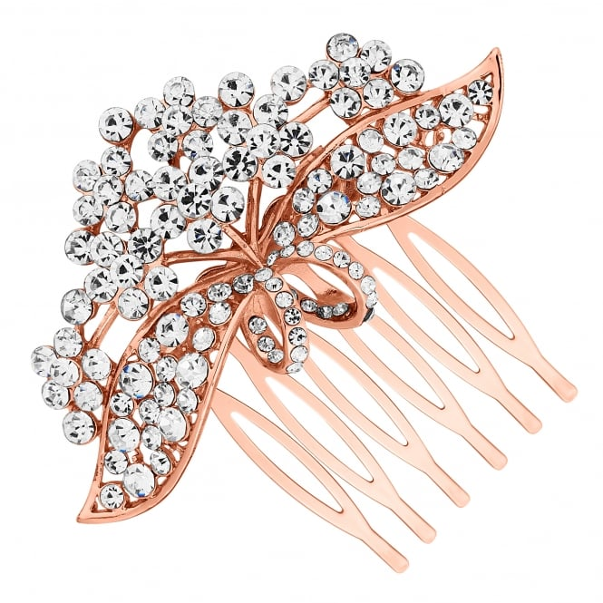 Rose Gold Crystal Floral Ribbon Hair Comb