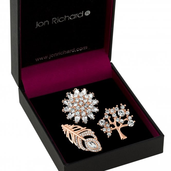 Rose Gold Crystal Leaf And Tree Brooch Set
