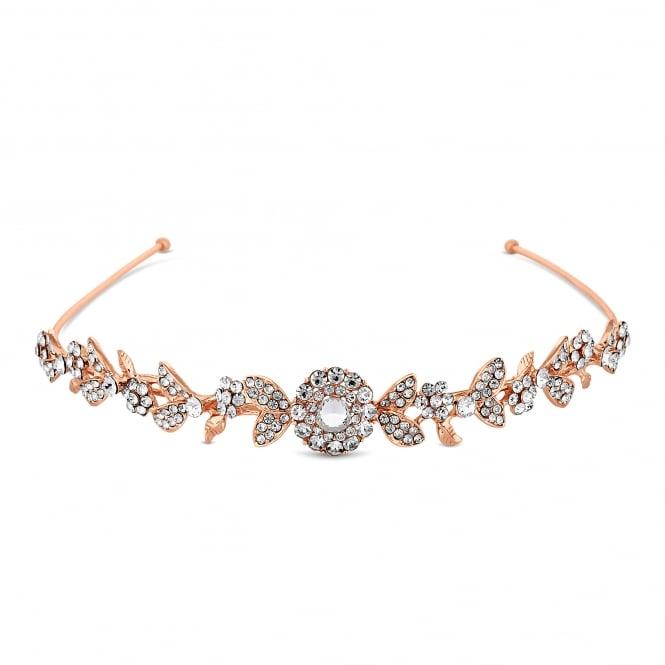 Rose Gold Crystal Leaf Headband