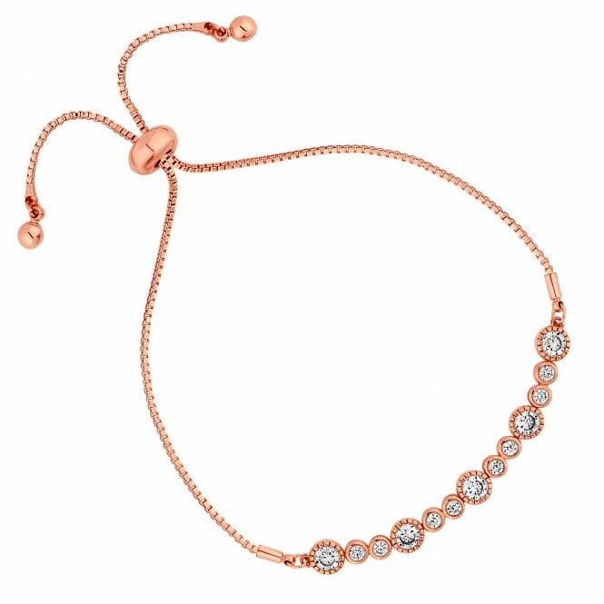 Rose Gold Crystal Multi Circle Toggle Bracelet