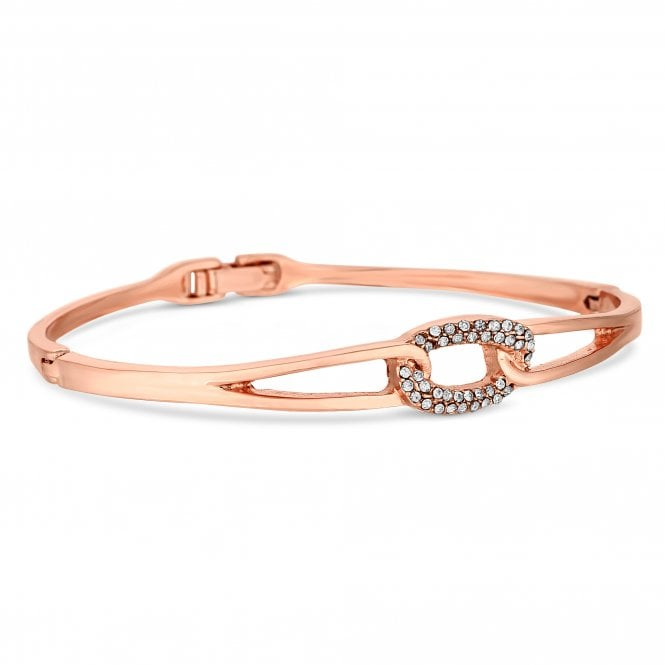 Rose Gold Crystal Oval Link Bangle