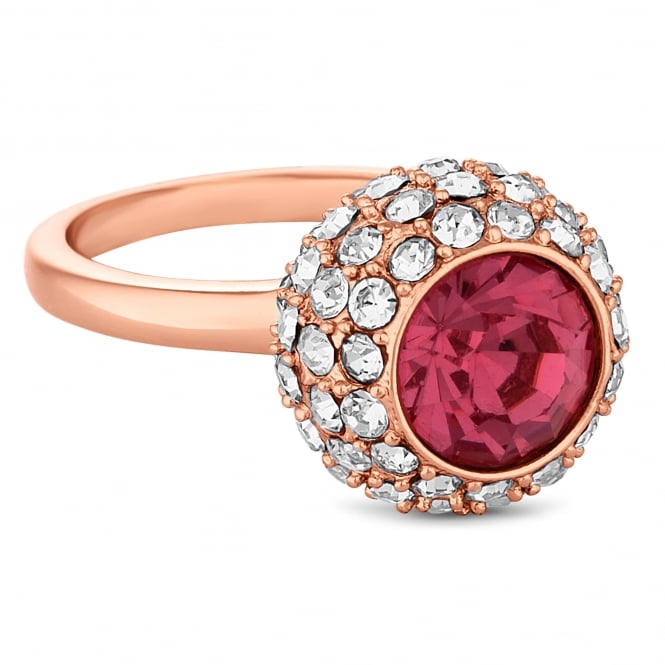 Rose gold crystal pave ball ring