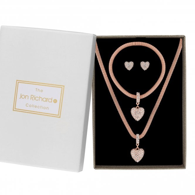 Rose Gold Crystal Pave Heart Jewellery Set In A Gift Box